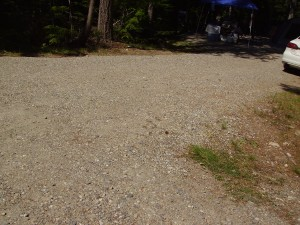 The transition from the roads to the campsites are flat, but rough due to the gravel.