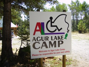 The welcome to Agur Lake sign.